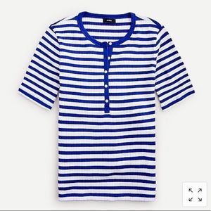 NWT J. Crew Ribbed Elbow-Sleeve Henley in Stripe